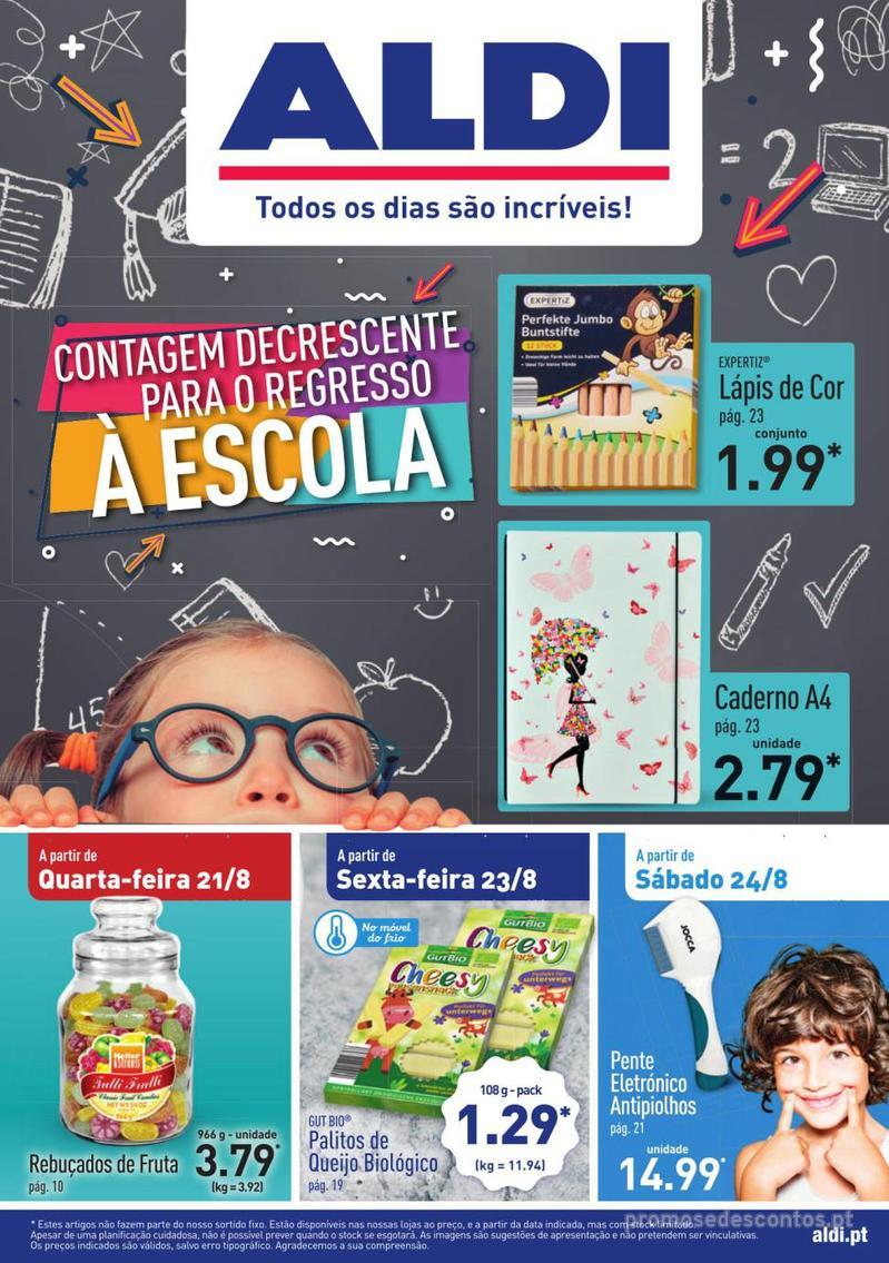 Folheto Aldi Contagem decrescente para o regresso à escola - 21 de Agosto a 27 de Agosto - página 1