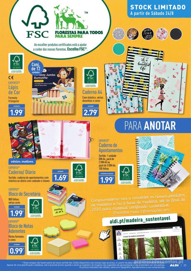 Folheto Aldi Contagem decrescente para o regresso à escola - 21 de Agosto a 27 de Agosto - página 23
