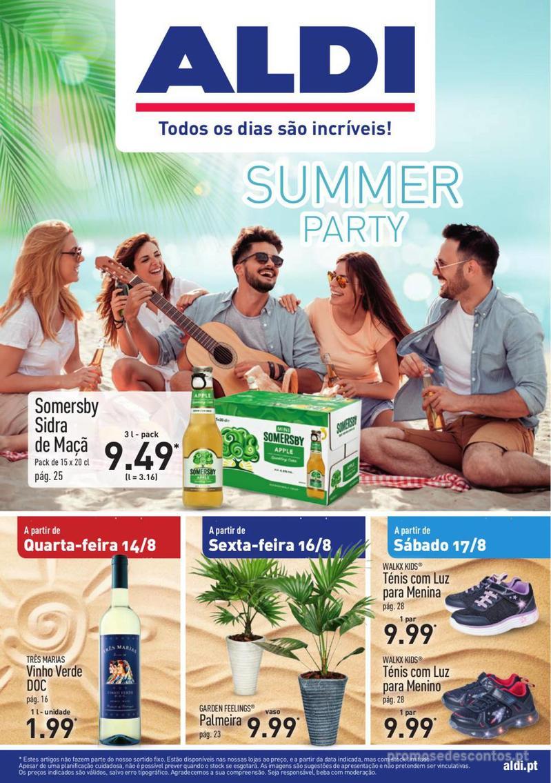 Folheto Aldi Summer party - 14 de Agosto a 20 de Agosto - página 1