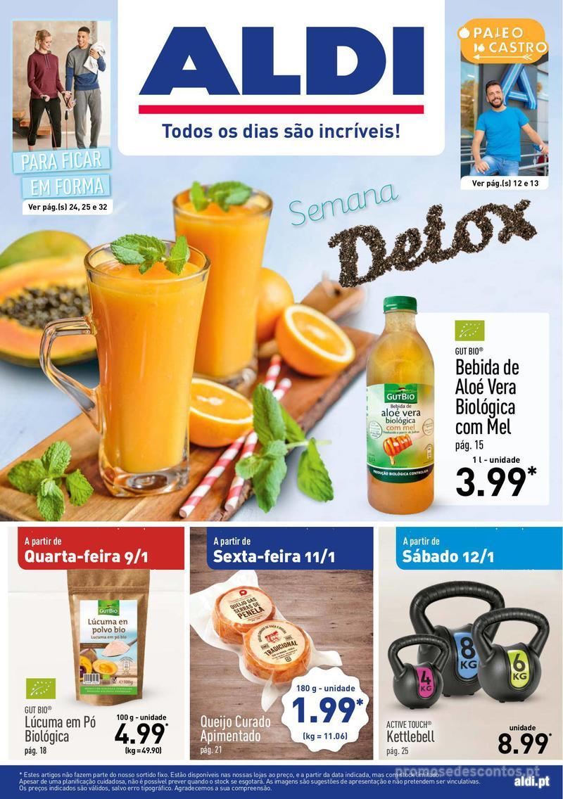 Folheto Aldi Semana Detox - 9 de Janeiro a 15 de Janeiro - página 1