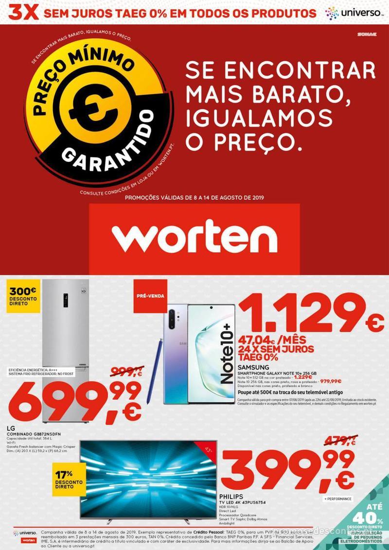 Folheto Worten Se encontrar mais barato, igualamos o preço - 8 de Agosto a 14 de Agosto - página 1