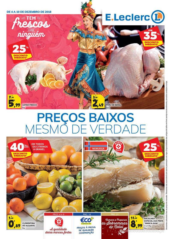 Folheto E.leclerc Preço Baixos mesmo de verdade - 4 de Dezembro a 10 de Dezembro - página 1