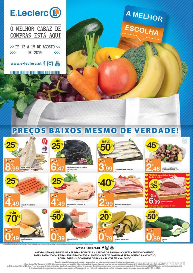 Folheto E.leclerc O melhor cabaz de compras está aqui - 13 de Agosto a 15 de Agosto - página 1