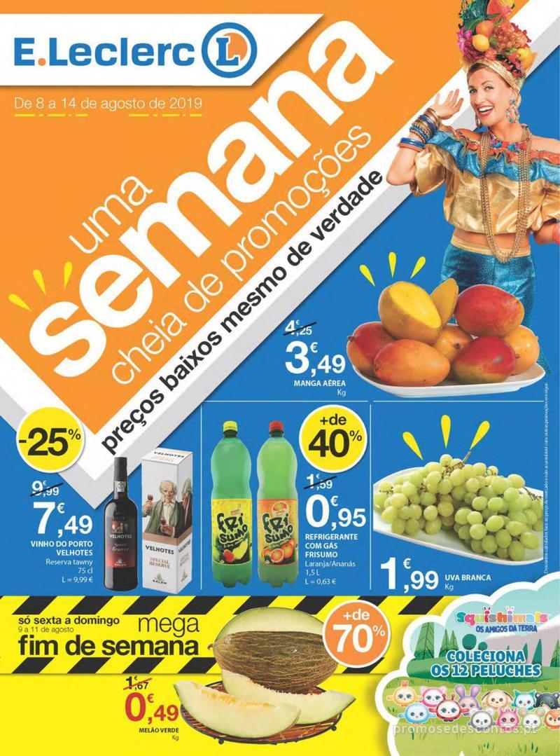 Folheto E.leclerc Uma semana cheia de promoções - 8 de Agosto a 14 de Agosto - página 1