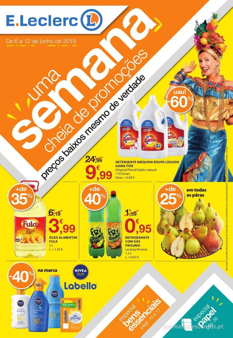 Folheto E.leclerc Uma semana cheia de promoções - 6 de Junho a 12 de Junho - página 1