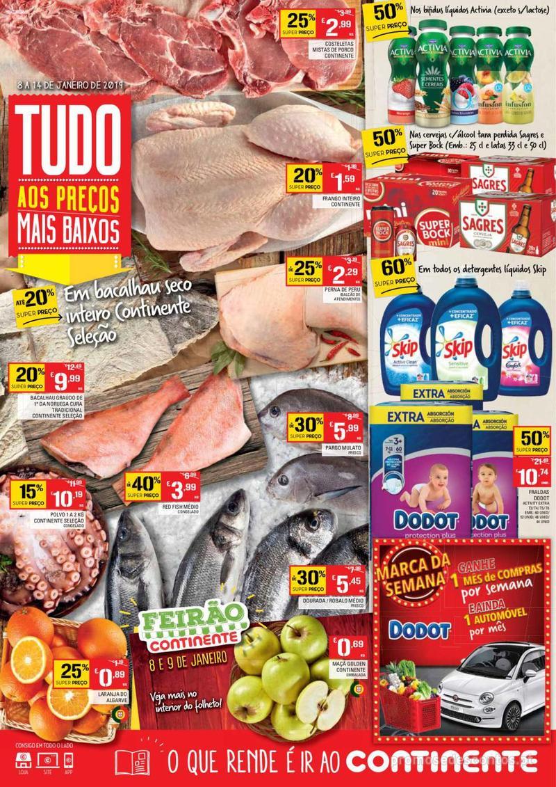 Folheto Continente Tudo aos preços mais baixos  - 8 de Janeiro a 14 de Janeiro - página 1
