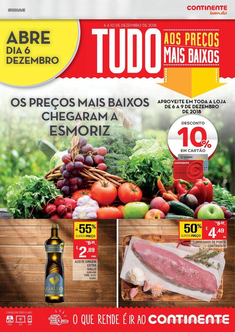 Folheto Continente Os preços mais baixos chegaram a Esmoriz - 6 de Dezembro a 10 de Dezembro - página 1