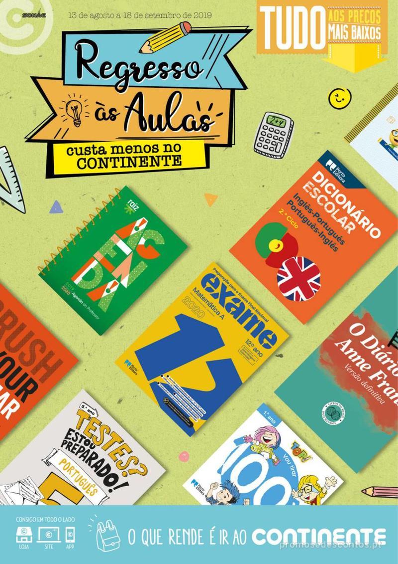 Folheto Continente Regresso às Aulas - 13 de Agosto a 18 de Setembro - página 1