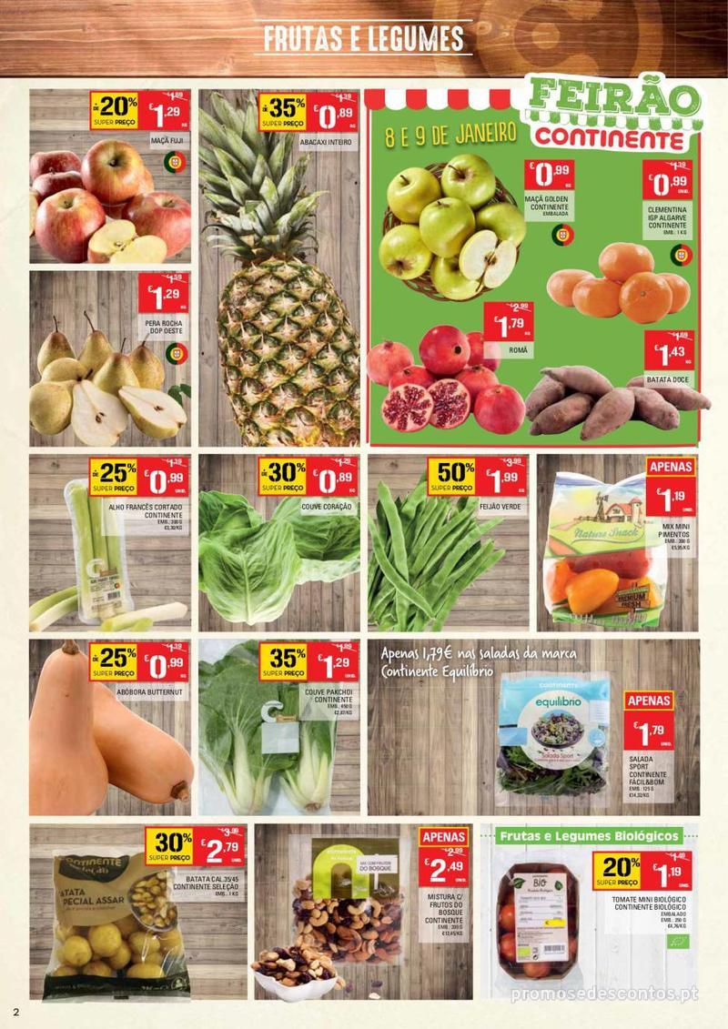 Folheto Continente Tudo aos preços mais baixos - Continente Bom dia - 8 de Janeiro a 14 de Janeiro - página 2
