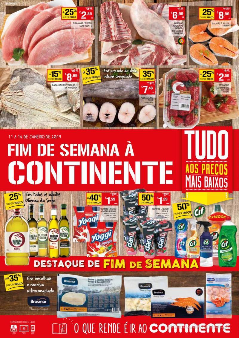 Folheto Continente Fim de semana à Continente - 11 de Janeiro a 14 de Janeiro - página 1
