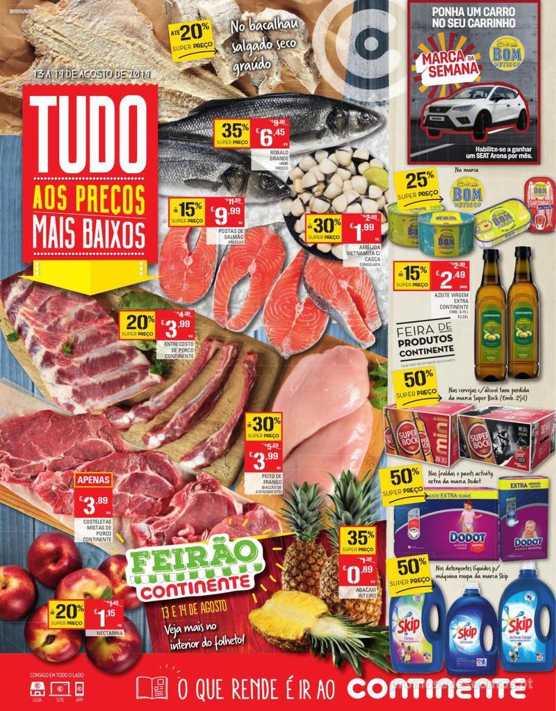 Folheto Continente Tudo aos preços mais baixos - Continente Bom dia - 13 de Agosto a 19 de Agosto - página 1