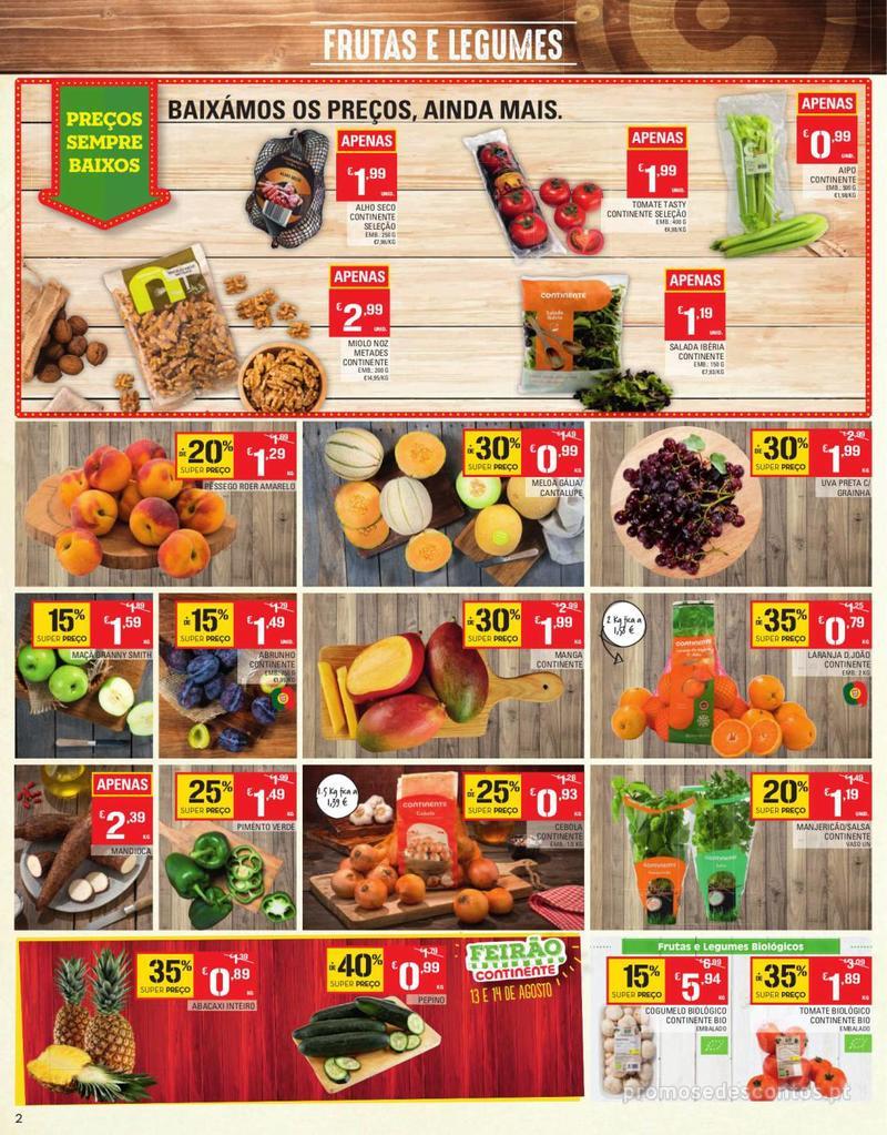 Folheto Continente Tudo aos preços mais baixos - Continente Bom dia - 13 de Agosto a 19 de Agosto - página 2