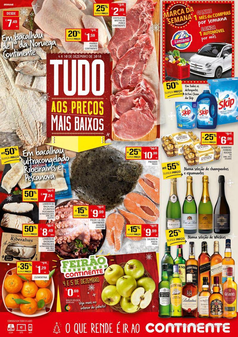 Folheto Continente Tudo aos preços mais baixos - Continente Bom dia - 4 de Dezembro a 10 de Dezembro - página 1