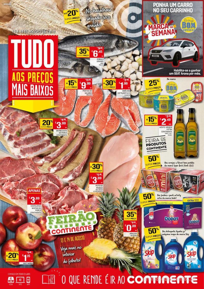 Folheto Continente Tudo aos preços mais baixos - 13 de Agosto a 19 de Agosto - página 1
