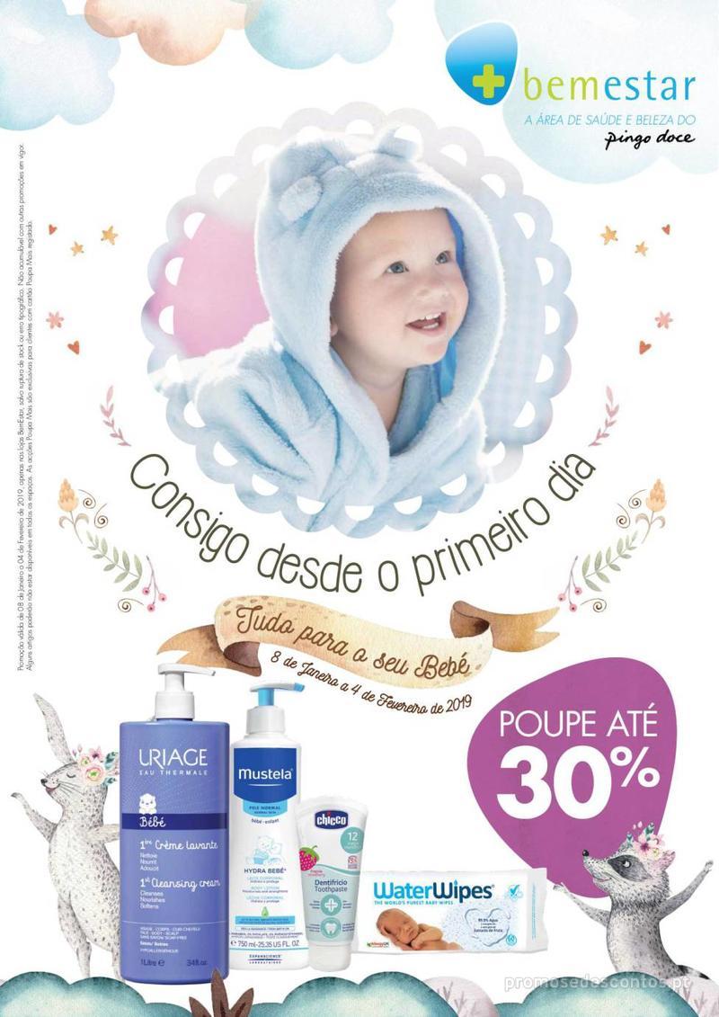 Folheto Pingo Doce Consigo desde o primeiro dia - Lojas BemEstar - 8 de Janeiro a 4 de Fevereiro - página 1