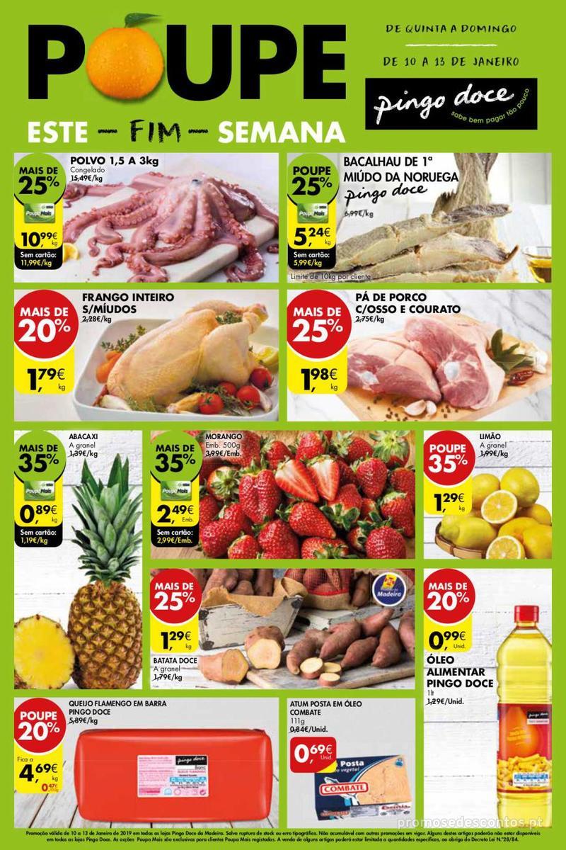 Folheto Pingo Doce Poupe este Fim de semana - Madeira - 10 de Janeiro a 13 de Janeiro - página 1