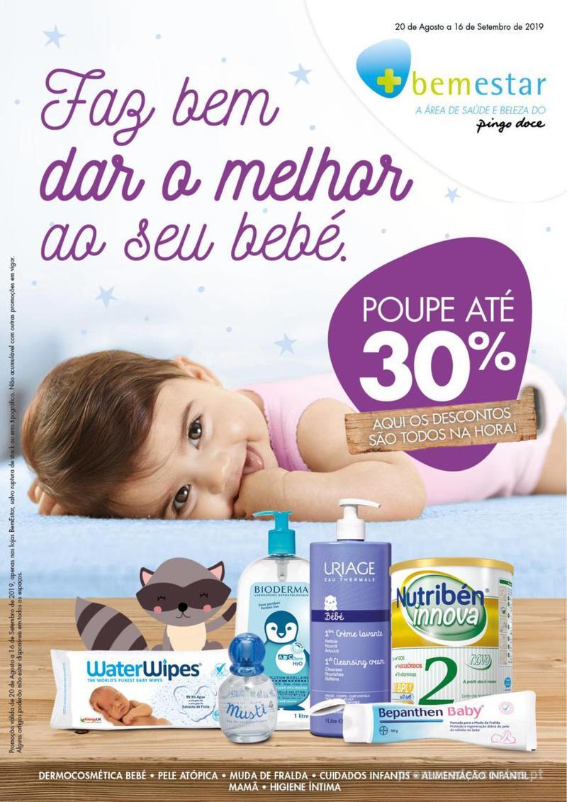 Folheto Pingo Doce Faz bem dar o melhor ao seu bebé. - 20 de Agosto a 16 de Setembro - página 1