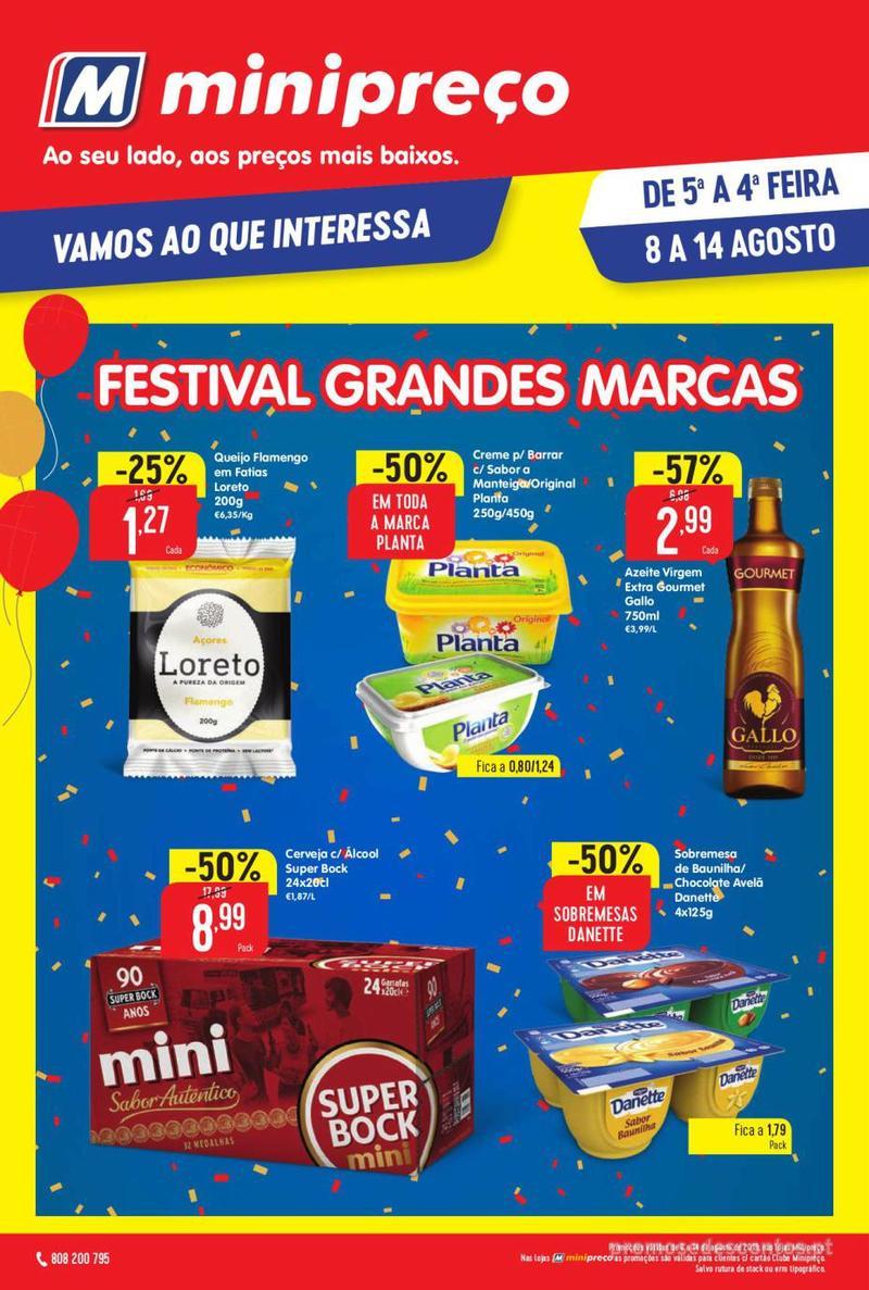 Folheto Minipreço Ao seu lado, aos preços mais baixos - 8 de Agosto a 14 de Agosto pág. 1