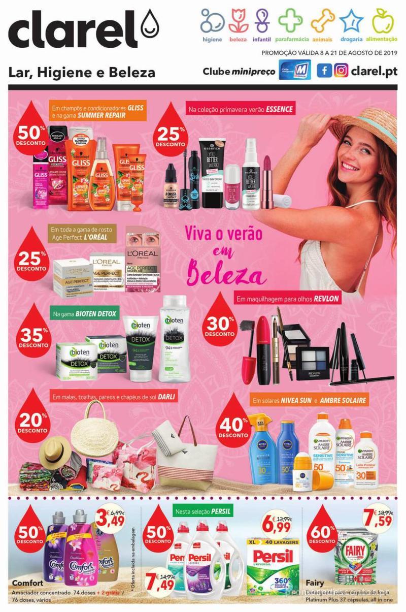 Folheto Minipreço Clarel - Viva o verão beleza - 8 de Agosto a 21 de Agosto - página 1