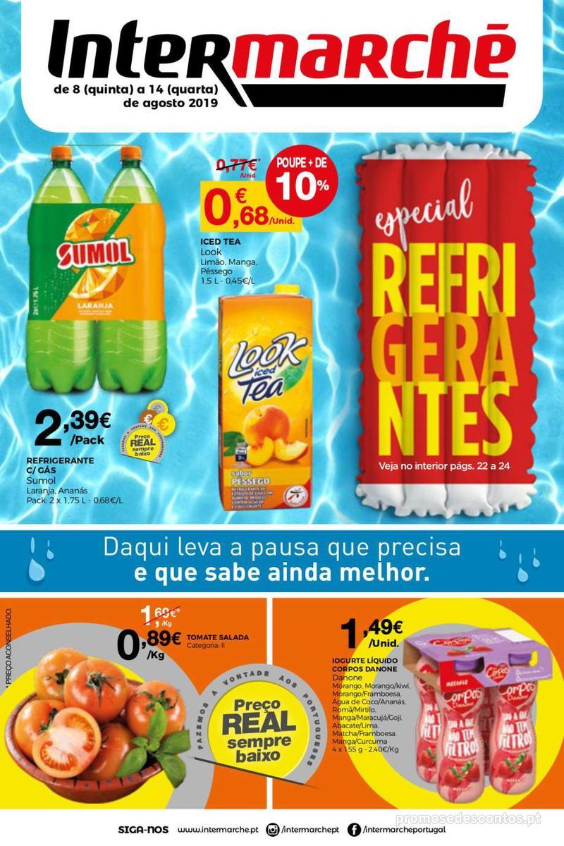 Folheto Intermarché Daqui leva a pausa que precisa e que sabe ainda melhor - Super - 8 de Agosto a 14 de Agosto - página 1